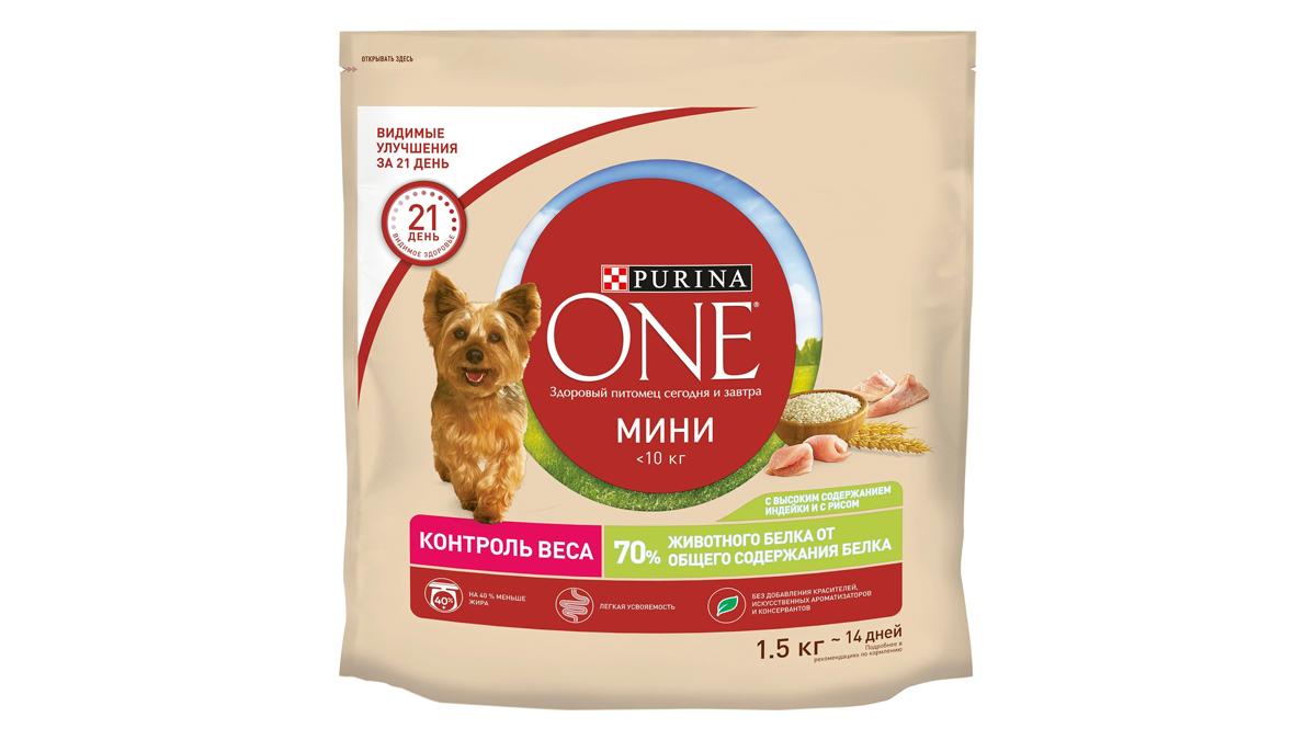 Сухой корм Purina One Мини Здоровый вес для собак мелких пород, индейка с рисом